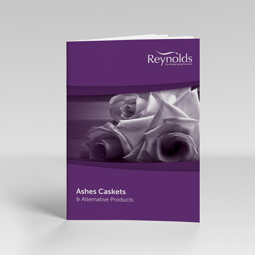 Ashes Caskets brochure cover showing image of flowers and cover text